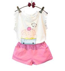 2pcs/set print cake T-shirt & Short Pant Cotton girl clothing set
