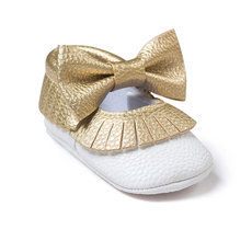 Baby Girls Shoes PU Leather Baby Moccasins Gold Bow Girls First Walker Toddler Moccs