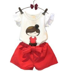 Summer Style Baby Girls Clothing Set Cartoon T-shirt Pant 2pcs/set Children Clothes Set 2-8 Years