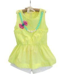 Fashion Yellow T-shirt Pant 2pcs/set Children Cotton Clothes Set 2-8 Years