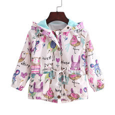 2-9T spring&summer girls jackets casual hooded outerwear for girls fashion Hand Painted kids Sunscreen clothing