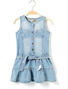 spring summer brand style infant girl denim one-piece dress kids sleeveless catimini children jeans with belt