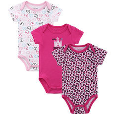 3pcs/lot Baby Girl Clothes Short Sleeve Baby Romper