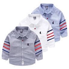 Baby boy sailing boat embroidery shirt autumn long-sleeve shirt
