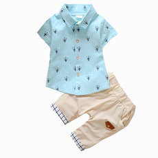 Print Shirt & Short PantsToddler Boy Summer Clothes Set