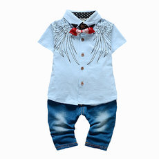 Kids Clothes Boys Summer Set Print Shirt & Jeans Imitation Pants Baby Boy Summer Clothes Gentleman Suit