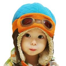 Cute Boys & Girls Baby Pilot Aviator Hat Winter Cotton Warm Ear Cap Beanie 4 Colors